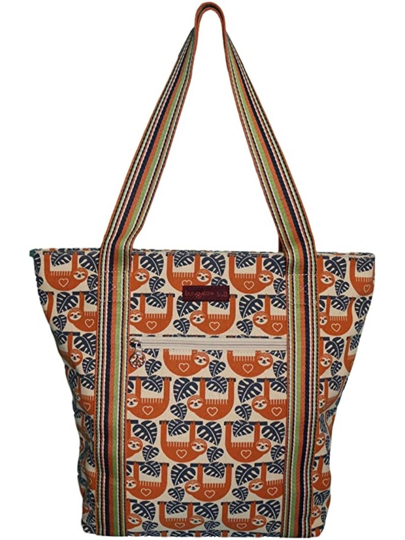Bungalow 360 Canvas Striped Tote Sloth
