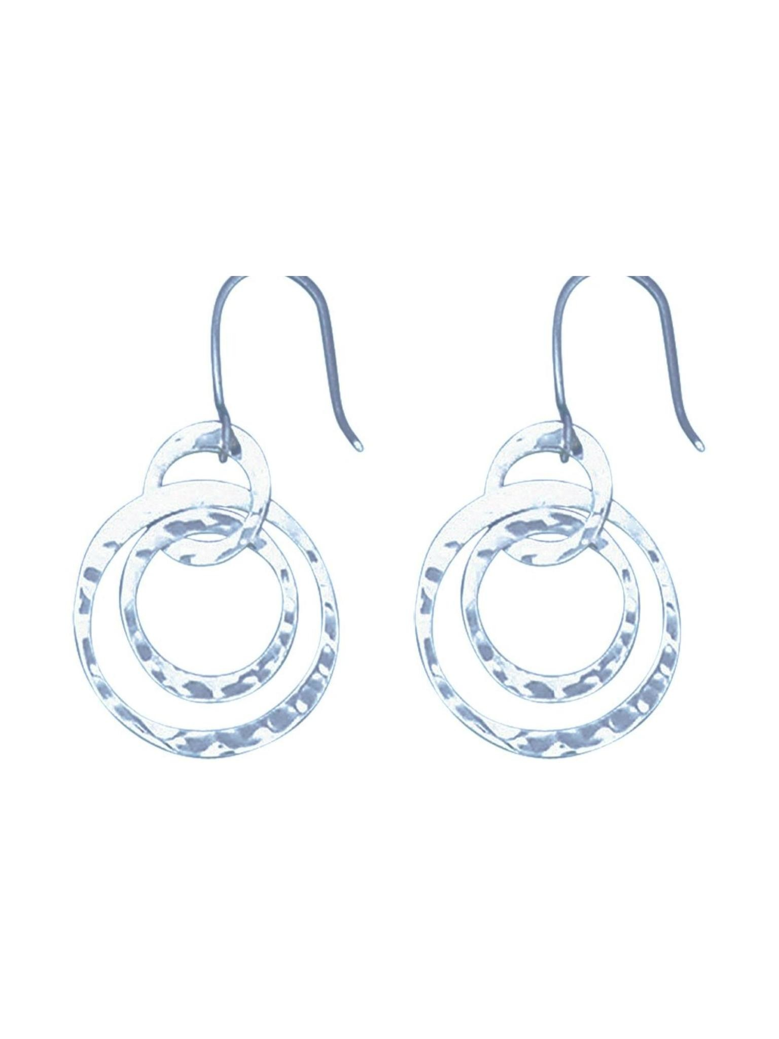 Acomo Jewelry 3 Dangling Hammered Circles Earring