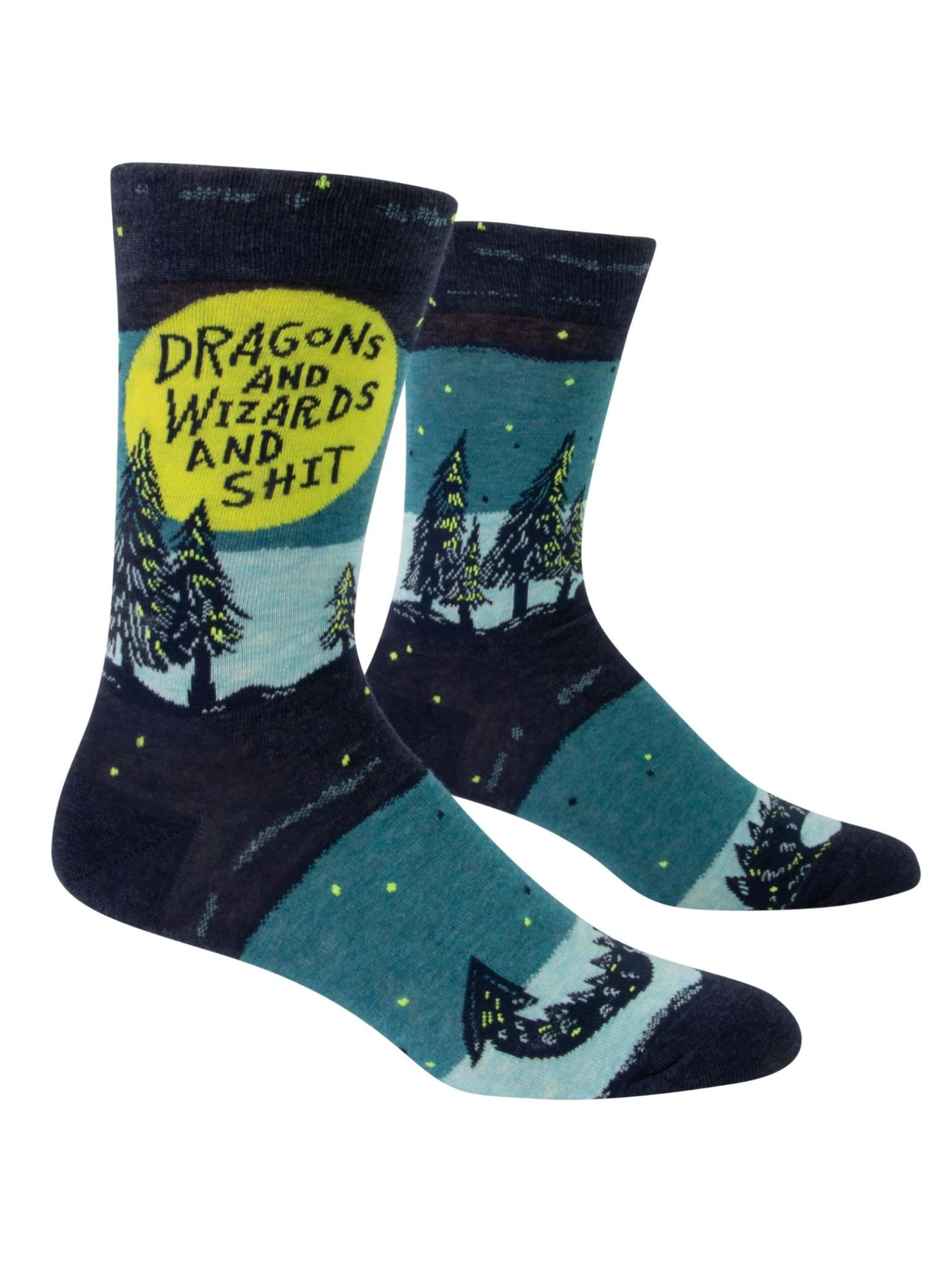 Blue Q Dragons and Wizards and Sh*t Men's Socks