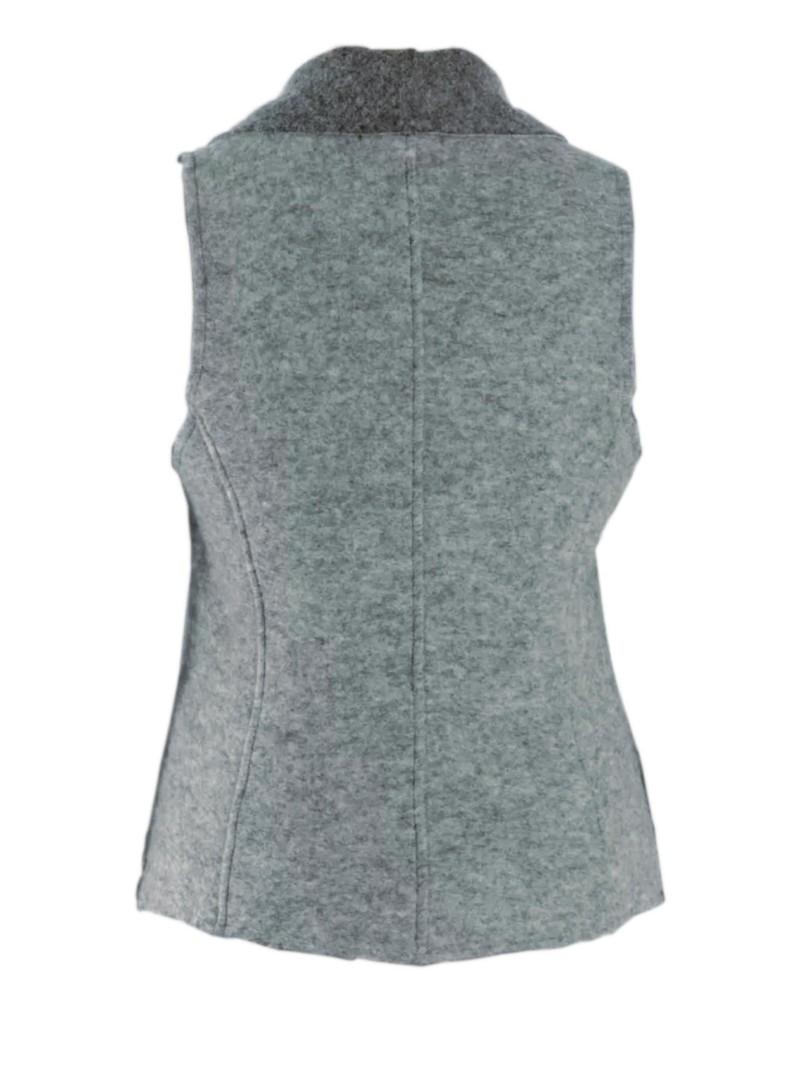 Cut Loose Lapel Collar Boiled Wool Vest