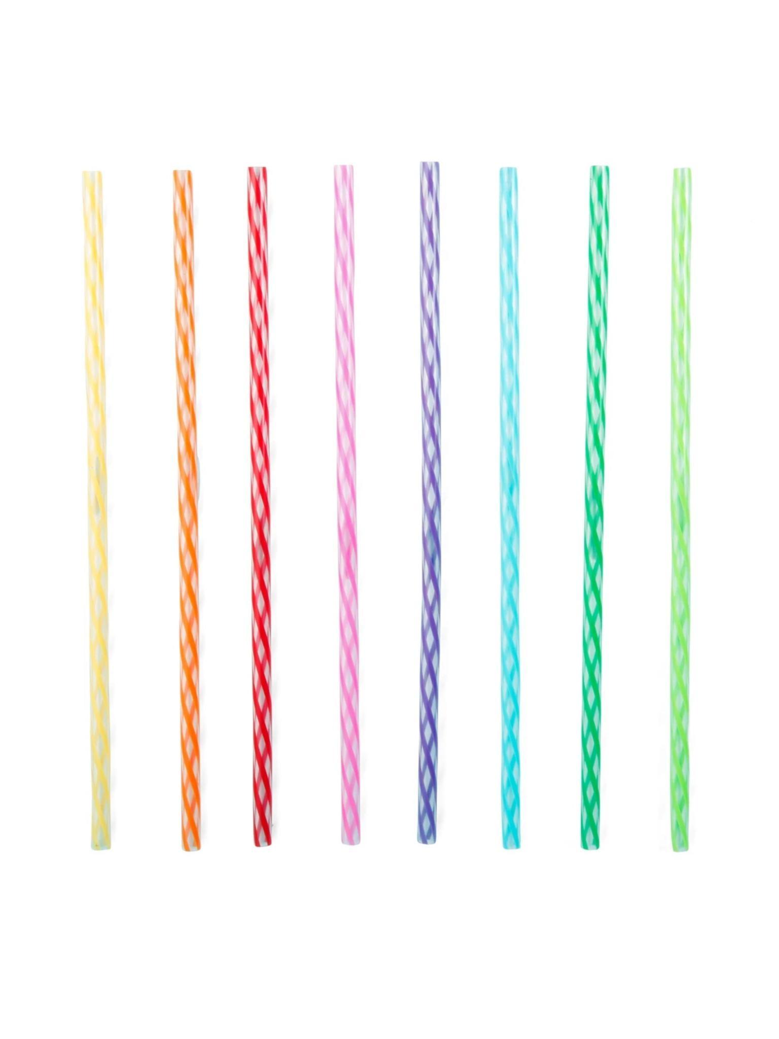 "Kikkerland Rainbow Straws 8"""