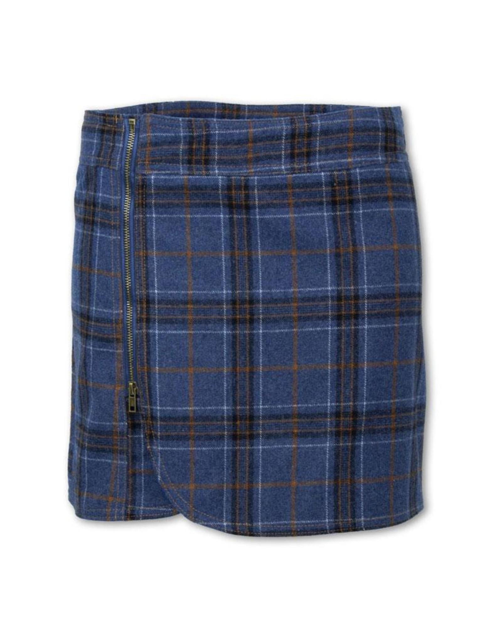 Purnell Women's Plaid Wool Zip Skirt