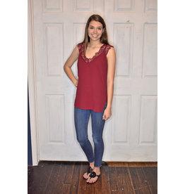 Lyla's: Clothing, Decor & More Lace Wine Top
