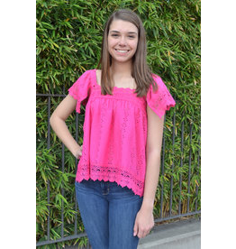 Lyla's: Clothing, Decor & More Stay With Me Crochet Hot Pink Top