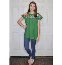 Lyla's: Clothing, Decor & More Let's Fiesta Embroidered Green Top