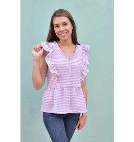 Lyla's: Clothing, Decor & More Weekend Feels Mauve Striped Top