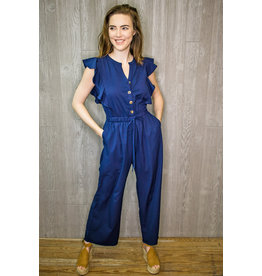 Lyla's: Clothing, Decor & More Stolen Hearts Navy Jumpsuit