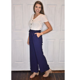 Lyla's: Clothing, Decor & More Just Enough Ivory and Navy Jumpsuit