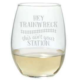 Lyla's: Clothing, Decor & More Trainwreck Wine Glass