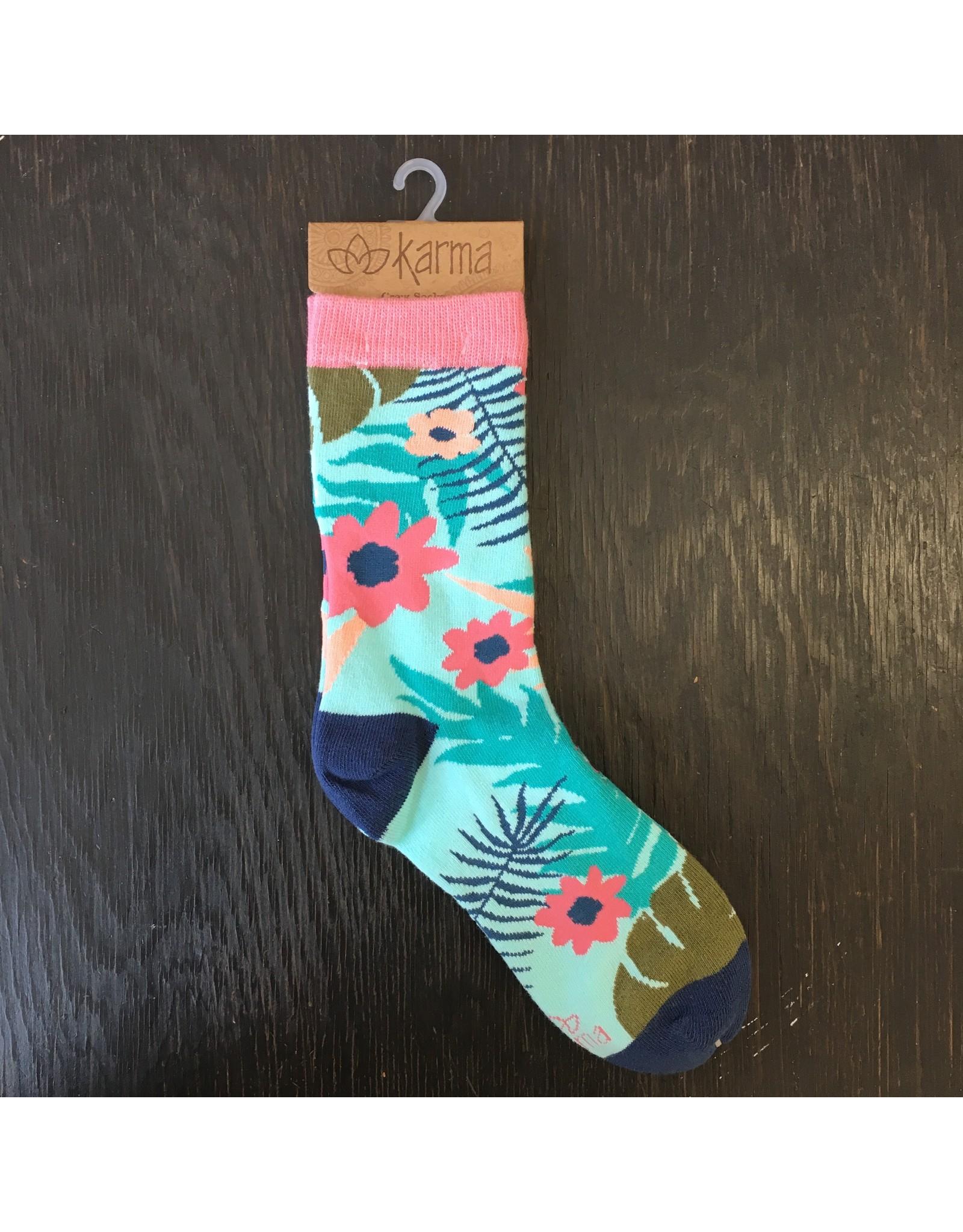 Lyla's: Clothing, Decor & More Aqua Floral Print Socks