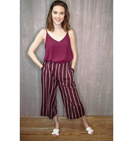 Lyla's: Clothing, Decor & More Wine Striped Crop Pants