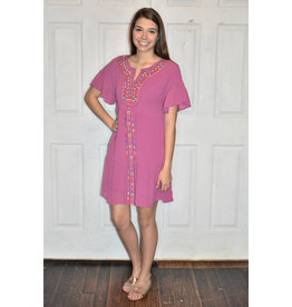 Lyla's: Clothing, Decor & More Bright Summer Embroidered Magenta Dress