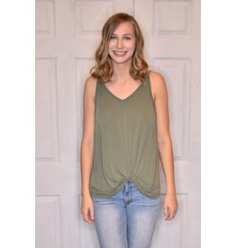 Lyla's: Clothing, Decor & More Knot the One Tank: Olive