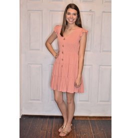 Lyla's: Clothing, Decor & More Waiting for You Dotted Dress: Dusty Rose