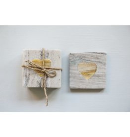 Pomp & Prose Marble and Wood Heart Marble Coaster Set PPT