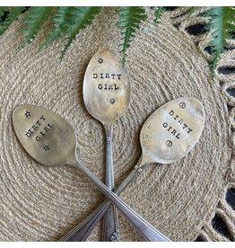 """Pomp & Prose """"Dirty Girl """" Vintage Spoon Plant Marker PPT"""