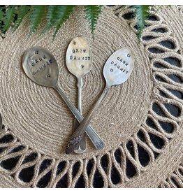 "Pomp & Prose ""Grow Dammit "" Vintage Spoon Plant Marker PPT"