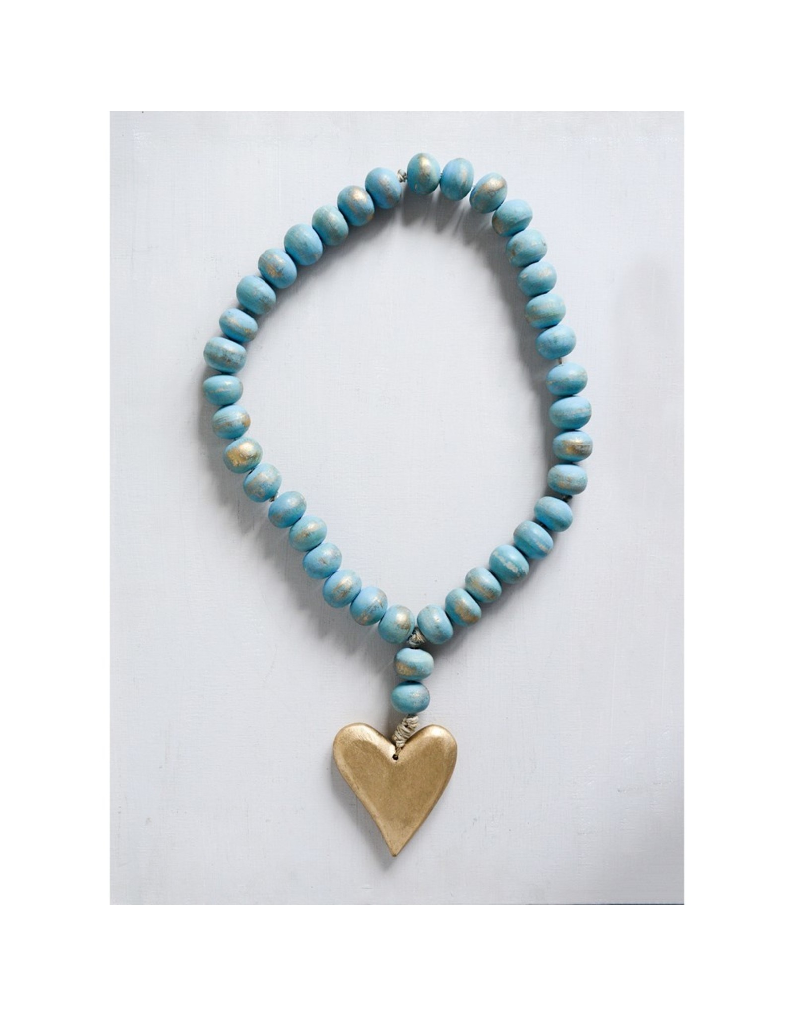 Pomp & Prose Mango Wood Beads w/Gold Heart PPT