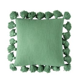 "Pomp & Prose Green 18"" Pillow w/Tassels PPT"