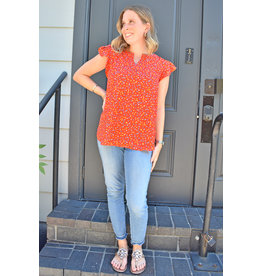 Lyla's: Clothing, Decor & More Bright Red Print Top