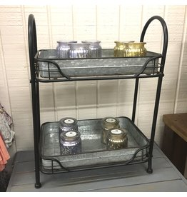 Pomp & Prose 2 Tiered Galvanized Metal Stand PPT