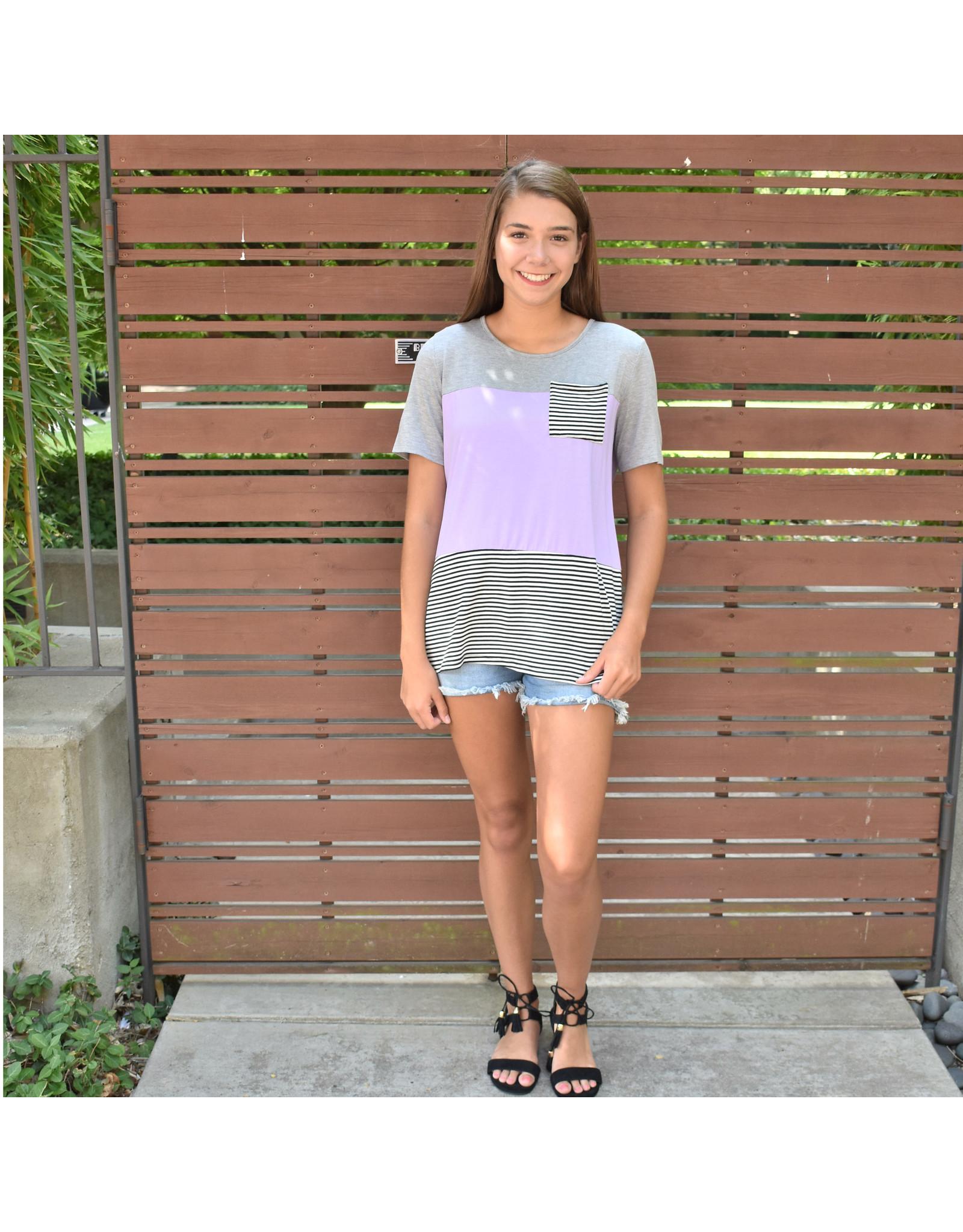 Lyla's: Clothing, Decor & More Lavender Colorblock Top