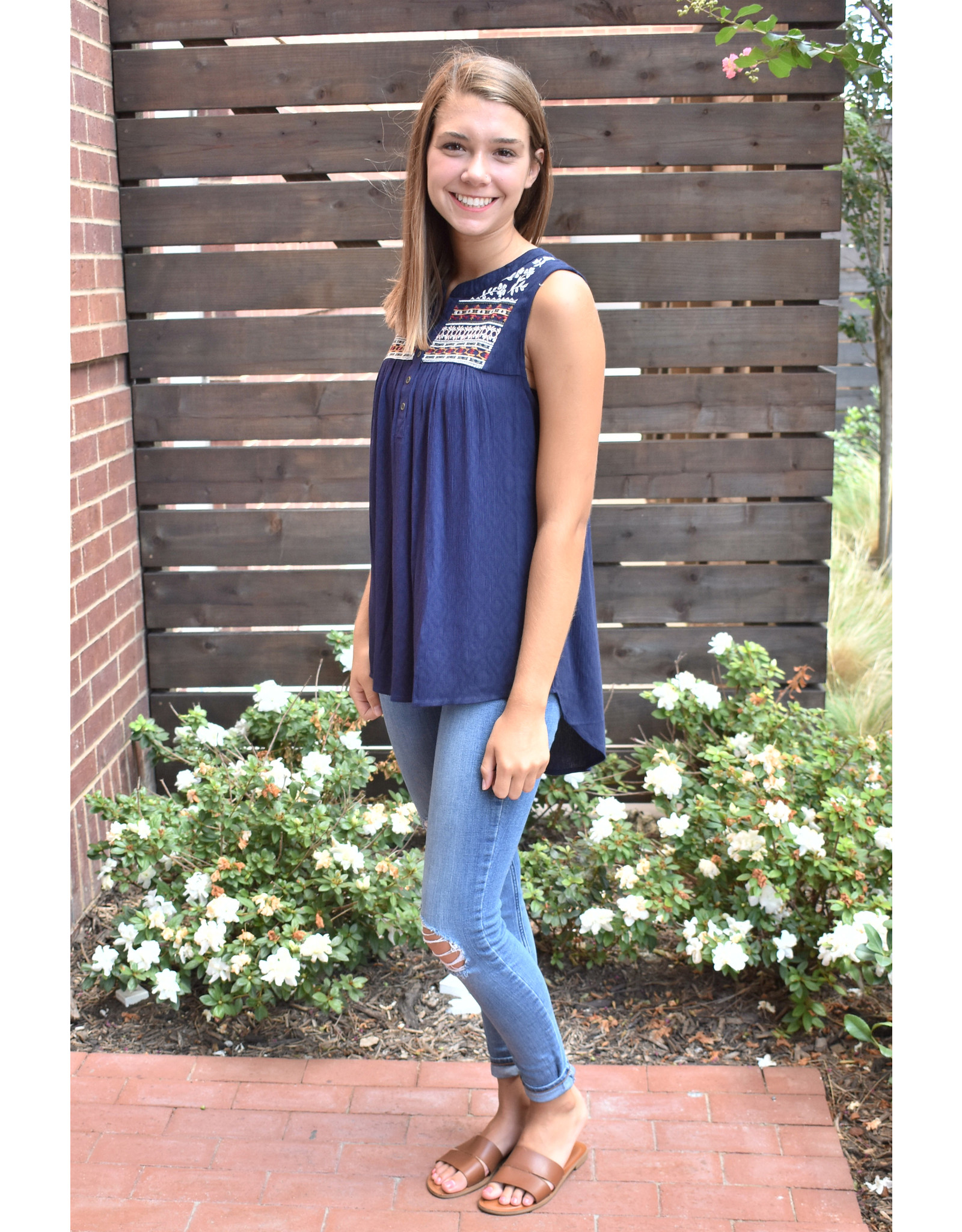 Lyla's: Clothing, Decor & More Truth Hurts Embroidered Navy Top