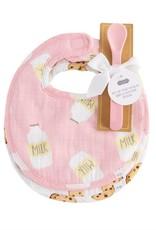 MudPie Milk & Cookies Bib & Spooon Set - Pink