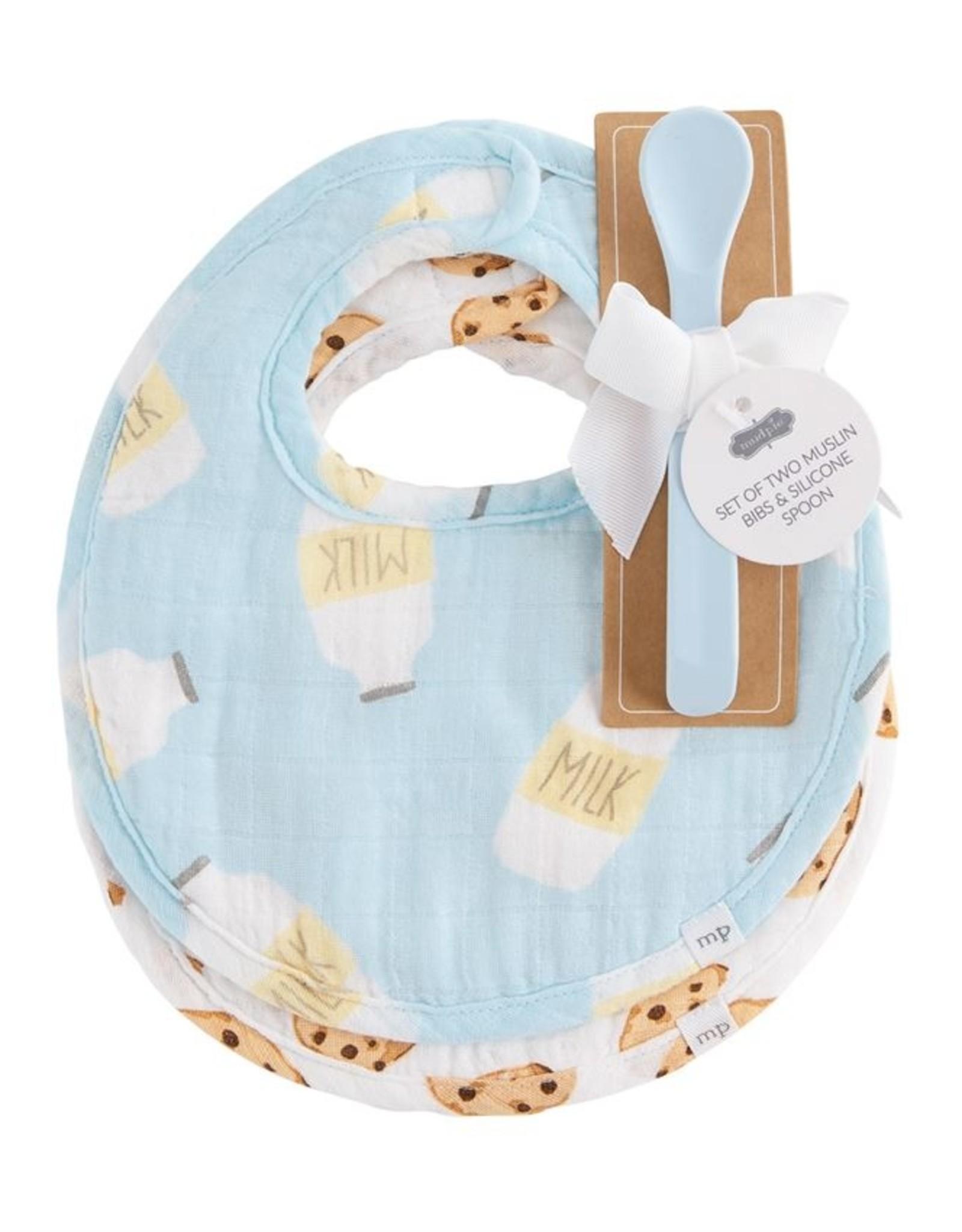 MudPie Milk & Cookies Bib & Spooon Set - Blue