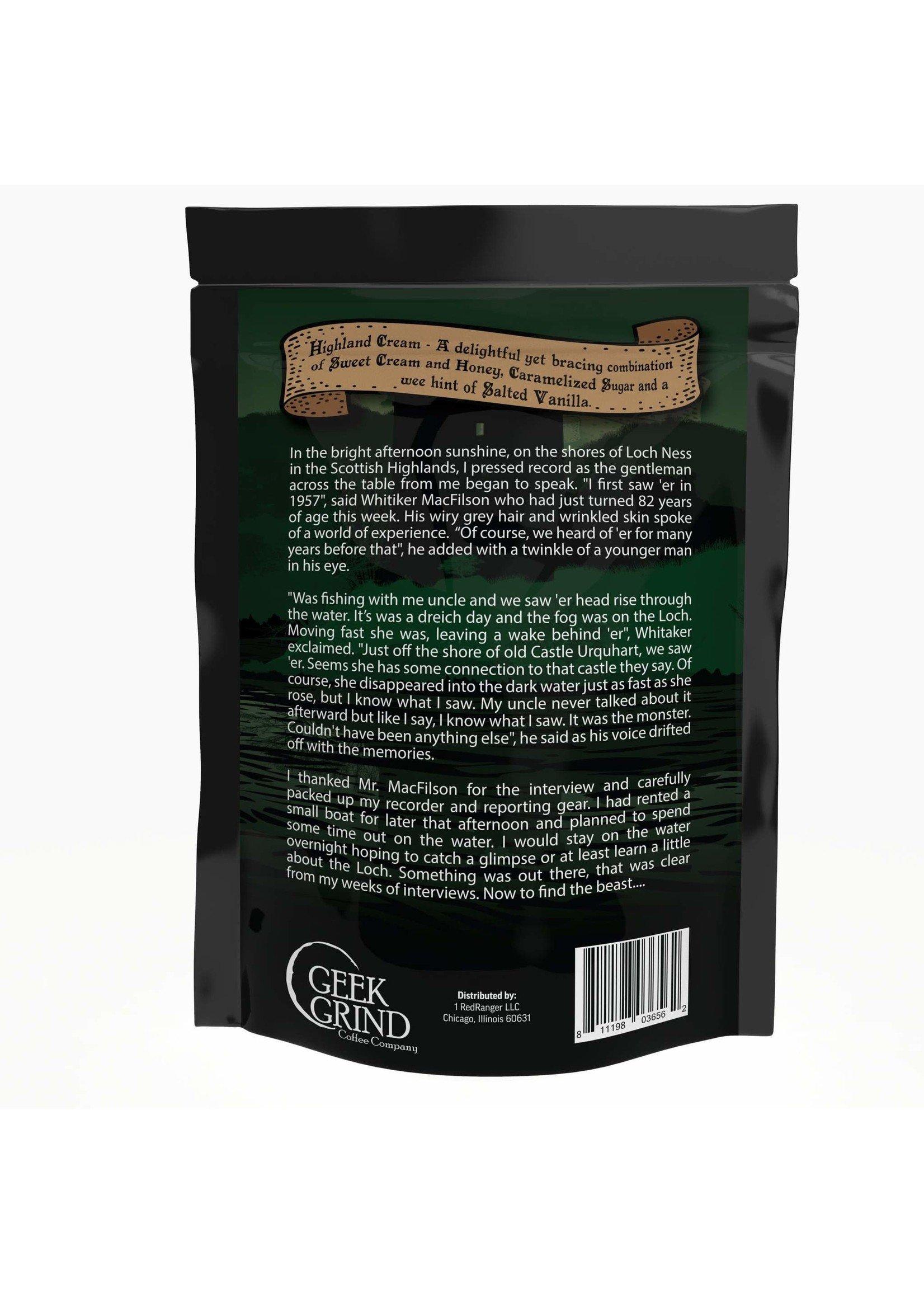 Geek Grind Legend of the Loch - Highland Cream Flavored Coffee - 12 oz. / Whole Bean