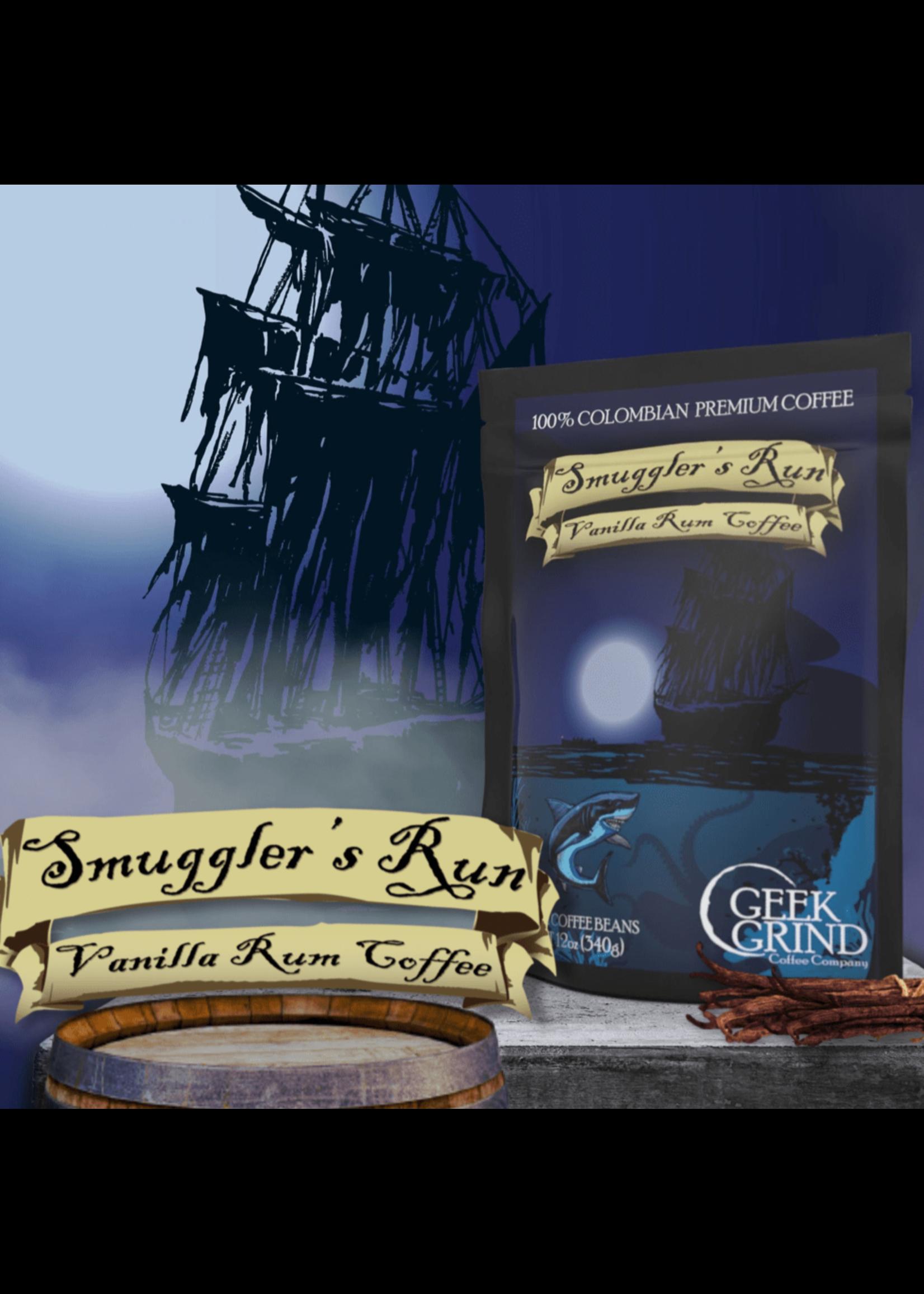 "Geek Grind Smuggler's Run ""Vanilla Spiced Rum"" Flavored Coffee - A Pirates Tale - 12oz / Whole Bean"