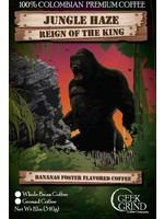 Geek Grind Jungle Haze - Reign of the King - Roasted Banana Foster flavored coffee - 12 oz. Whole Bean