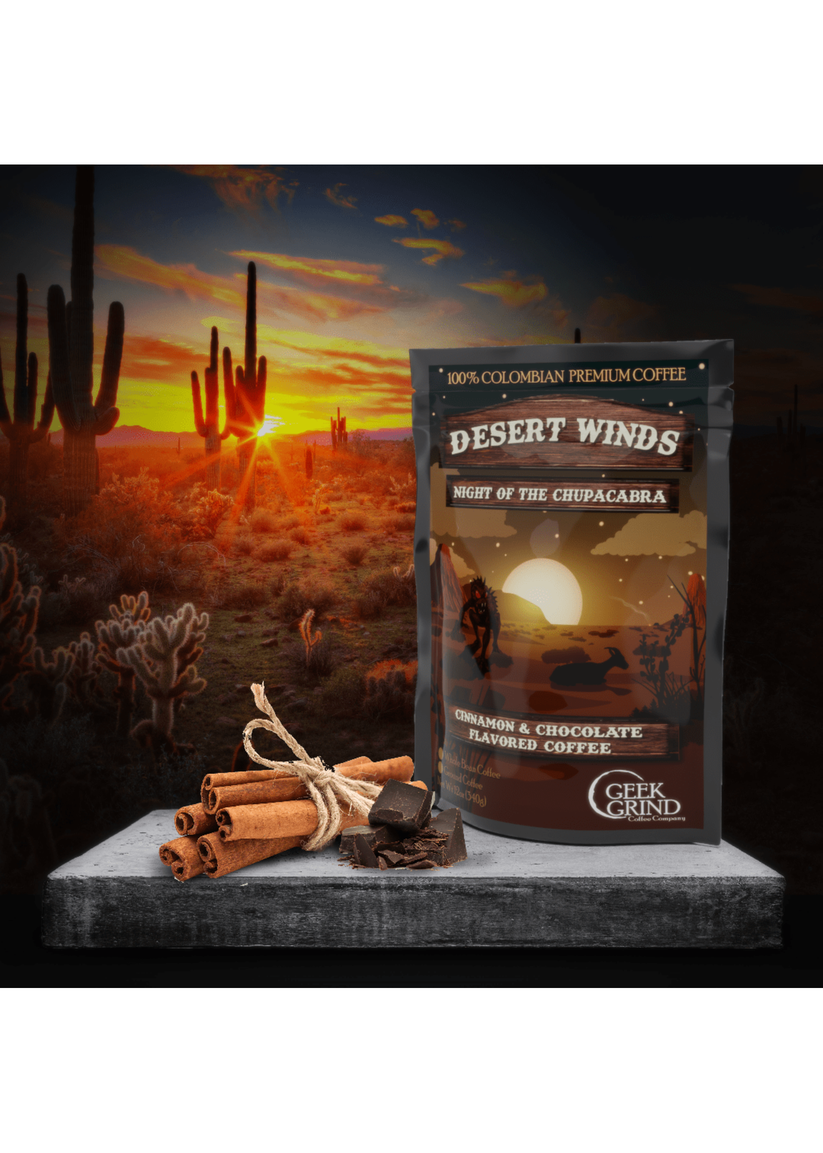 Geek Grind Desert Winds - Night of the Chupacabra - Cinnamon & Chocolate Flavored Coffee - 12 oz. Whole Bean