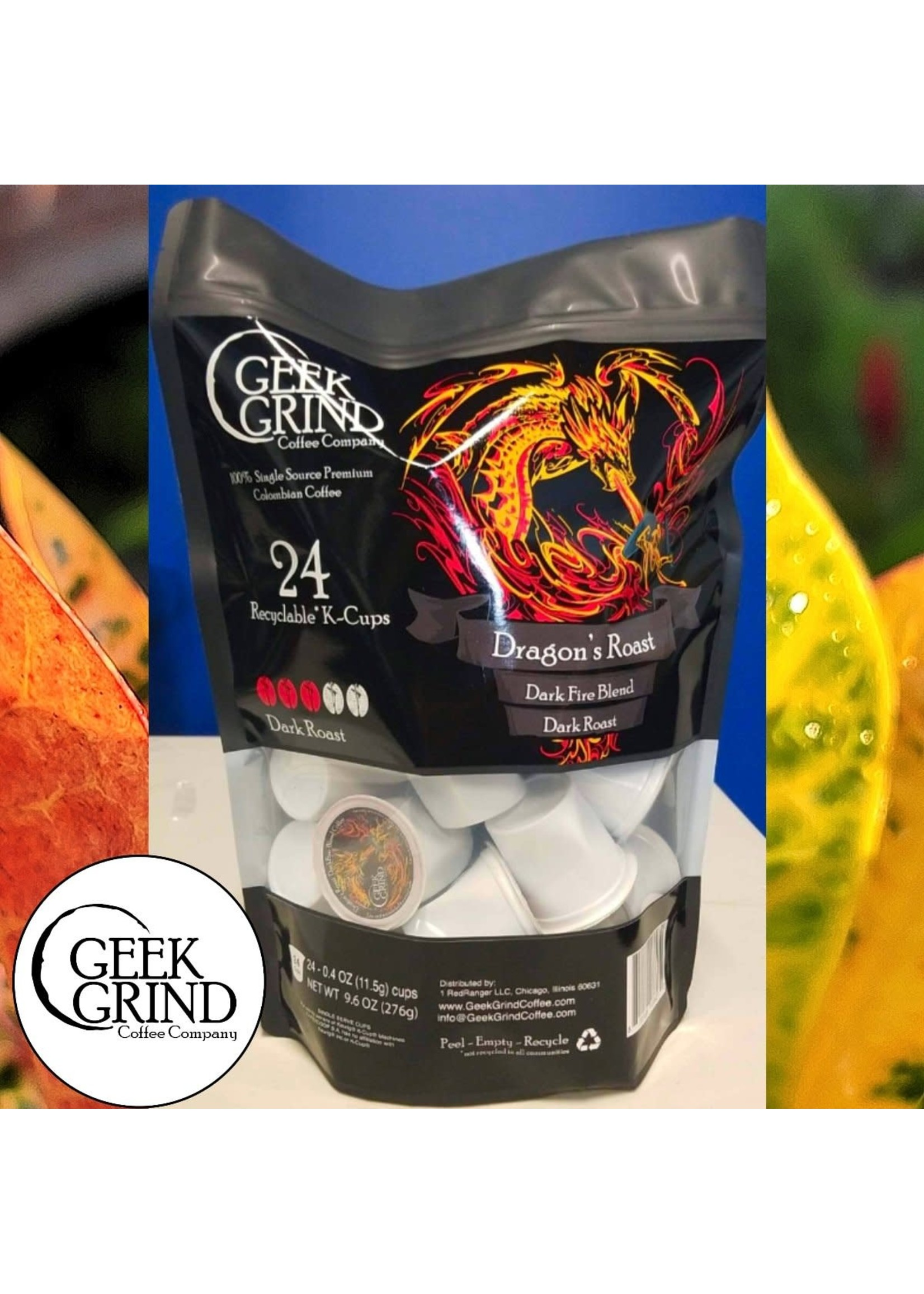 Geek Grind Dragons Roast - Dark Roast Coffee - K-Cups for Keurig - 24 K-Cup Pack - 24 K-Cup Pods - Individual Pouch of 24 KCups