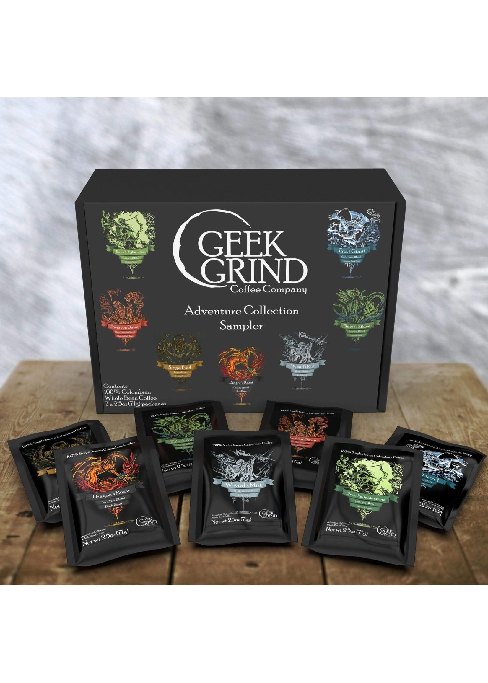 Geek Grind Coffee Sampler Assortment- All 7 Roasts in One Gift/Sampler Box
