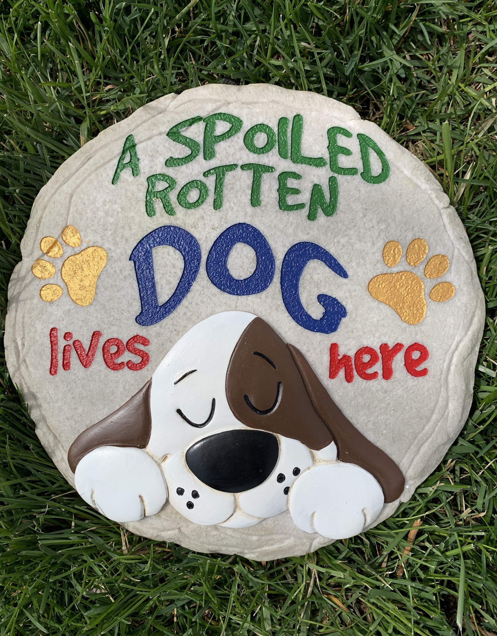 SPOONTIQUES, INC. SPOILED ROTTEN DOG LIVES HERE STEPPING STONE