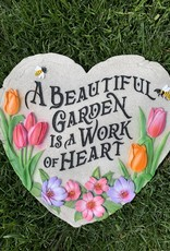 SPOONTIQUES, INC. BEAUTIFUL GARDEN IS A WORK OF HEART STEPPING STONE