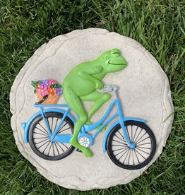 SPOONTIQUES, INC. FROG ON BIKE STEPPING STONE