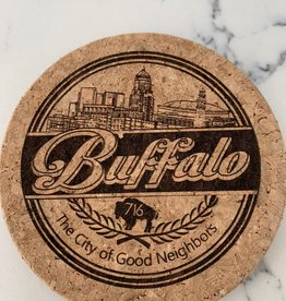 DELUXE LASERWORKS, INC. BUFFALO THE CITY OF GOOD NEIGHBORS CORK COASTER