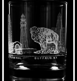 PREDMORE CREATIONS 4 BUFFALO IMAGE ROCK GLASS