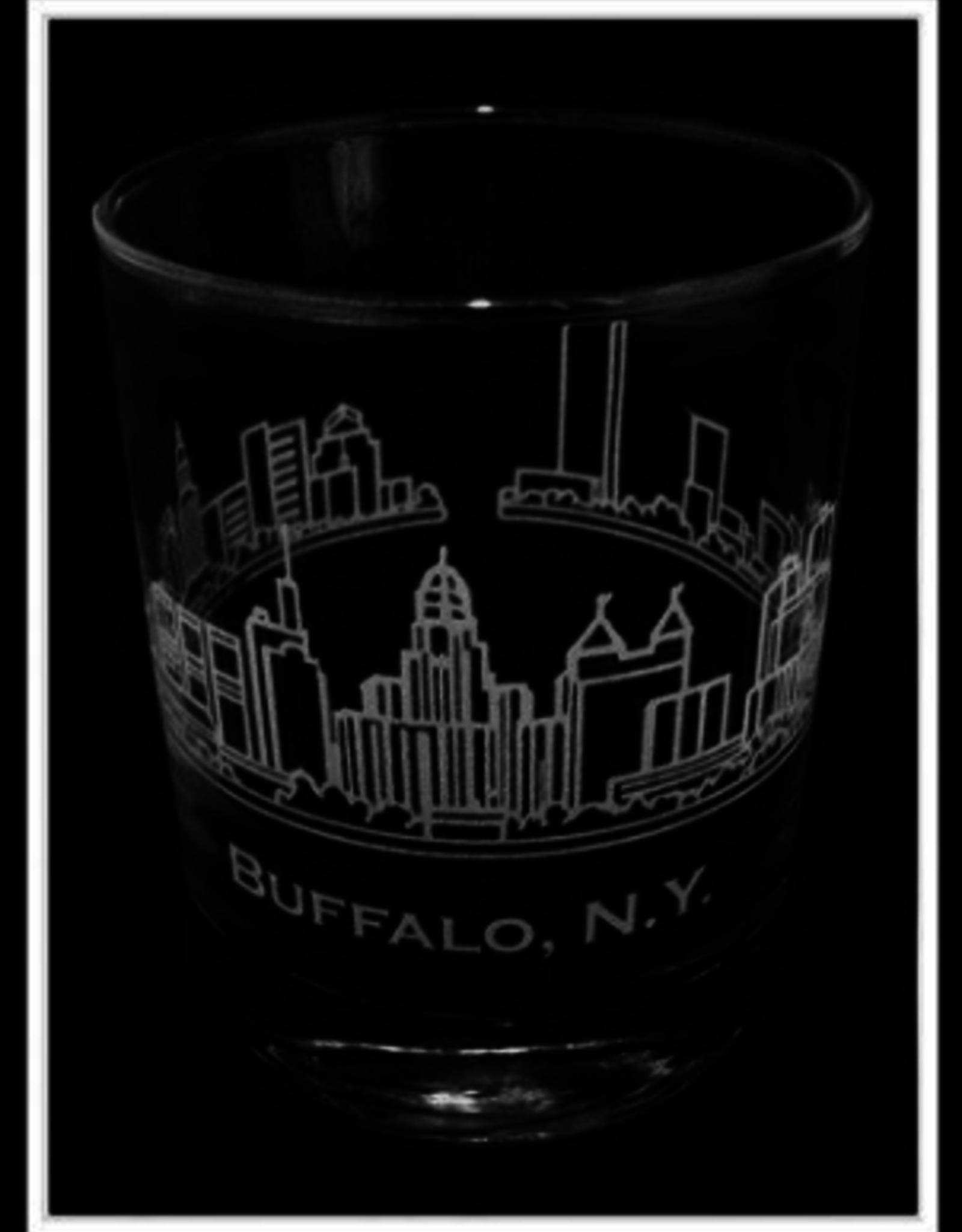 PREDMORE CREATIONS BUFFALO SKYLINE ROCK GLASS