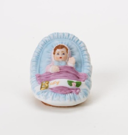 ENESCO BRUNETTE BABY IN CRADLE