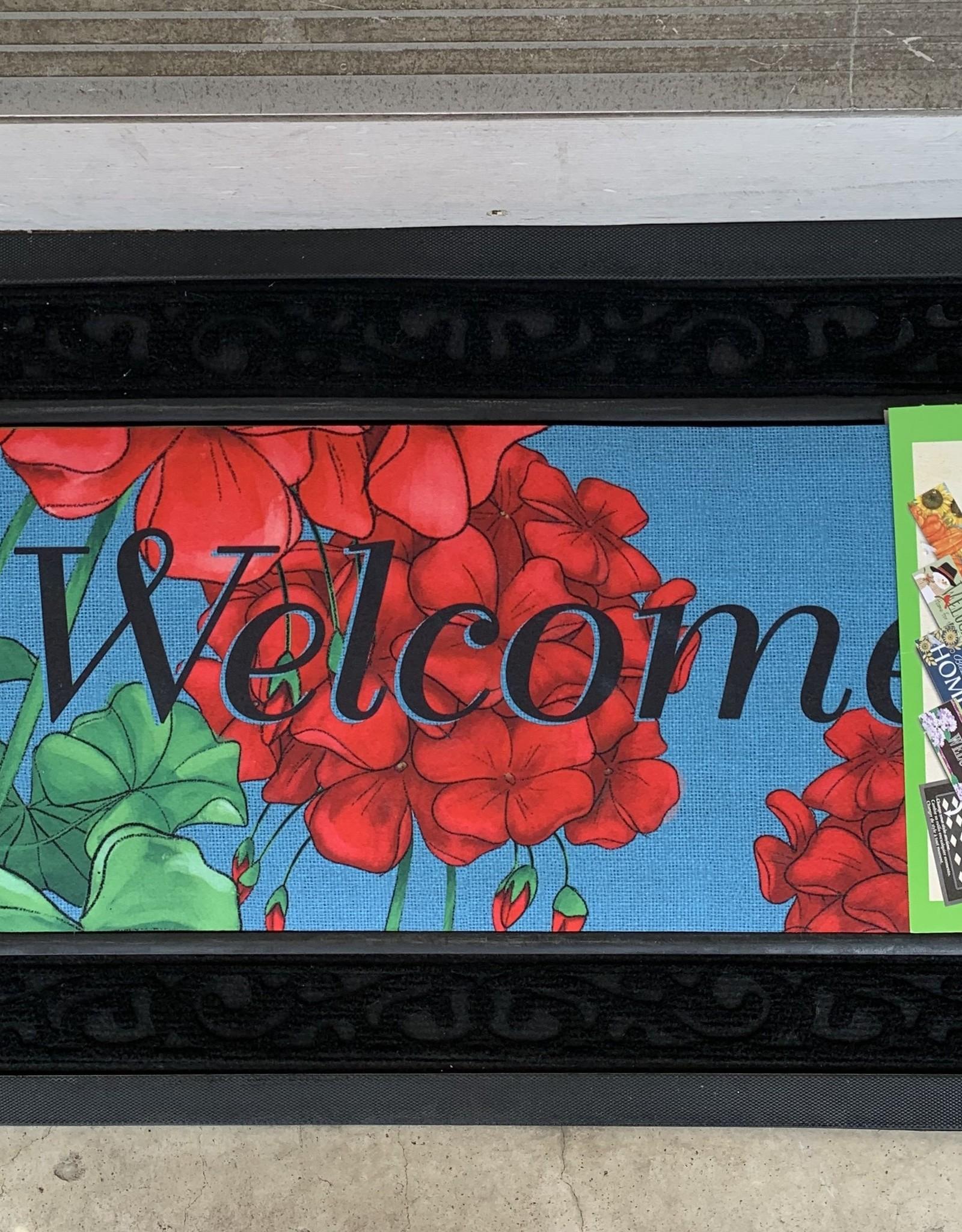 EVERGREEN ENTERPRISES, INC. GERANIUM WELCOME -  DOOR MAT INSERT