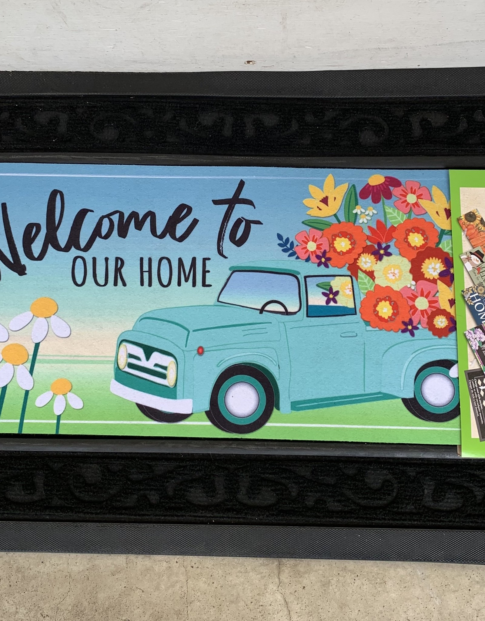 EVERGREEN ENTERPRISES, INC. WELCOME TO OUR HOME MINT FLOWER TRUCK -  DOOR MAT INSERT