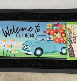 EVERGREEN ENTERPRISES, INC. WELCOME TO OUR HOME FLOWER TRUCK DOOR MAT INSERT