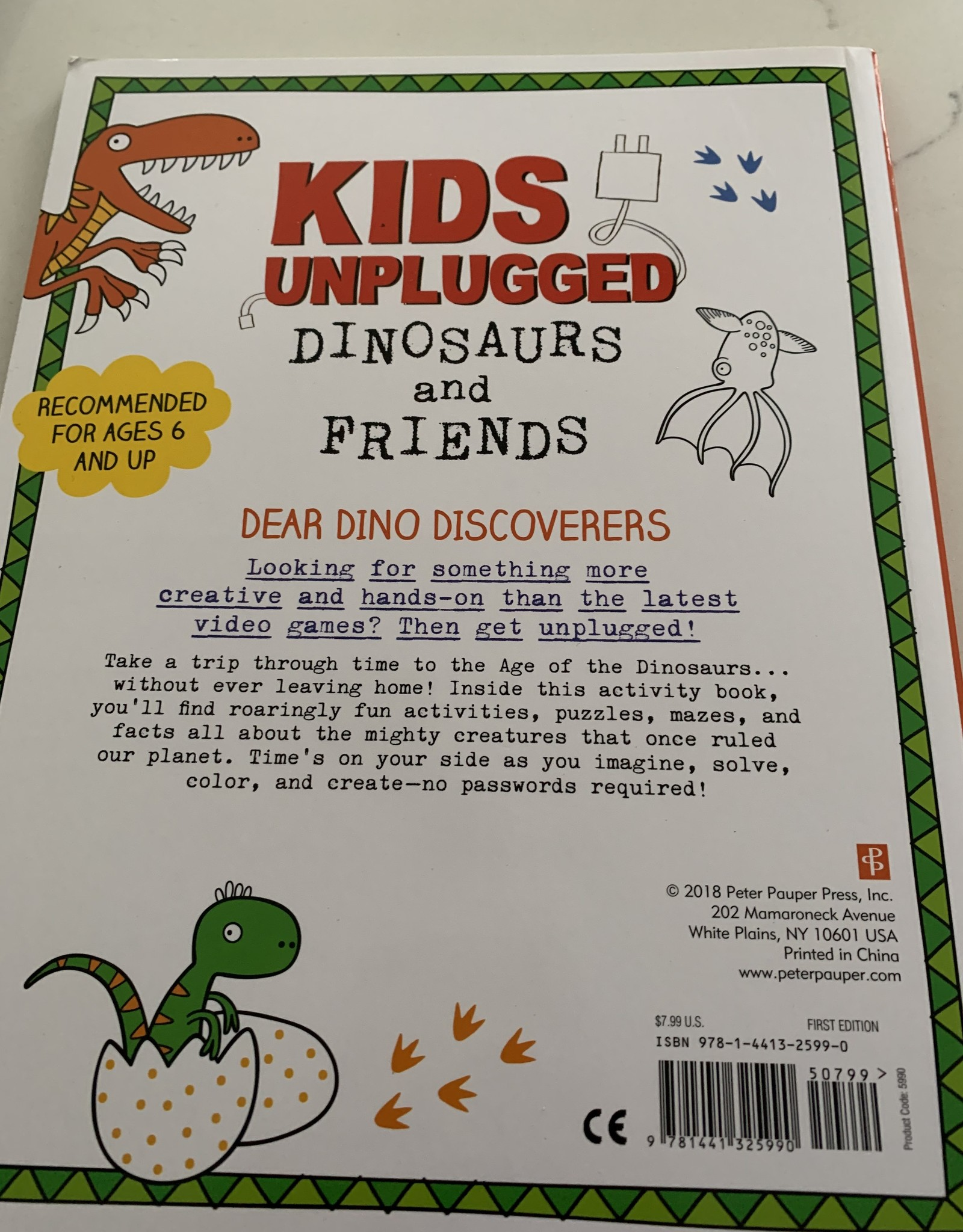 PETER PAUPER PRESS Kids Unplugged Animals Adventures Activity Book - Dinosaurs & Friends