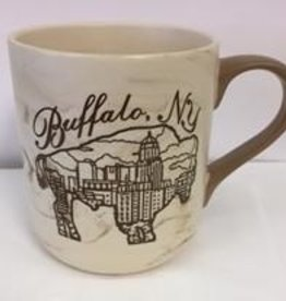 DELUXE LASERWORKS, INC. BUFFALO ETCHED MARBLE MUG-BROWN