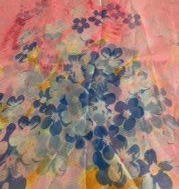 GANZ Pink Floral Silk Scarf