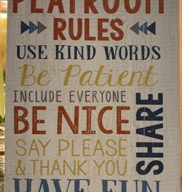 P graham dunn Playroom Rules Block Sign