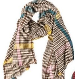 TOP IT OFF Raven Plaid Scarf in Brown, Yellow, Turquoise